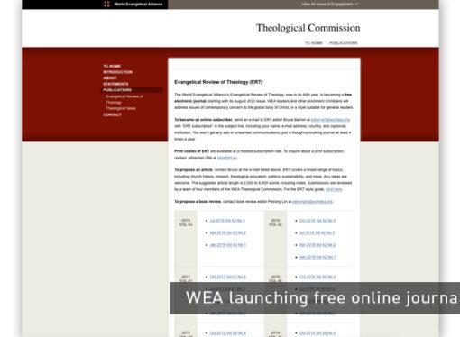 WEA launching free online journal